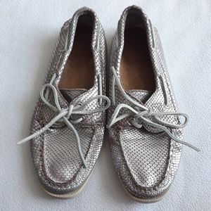 Sperry Silver Leather Upper Boat Shoes Sz 8M